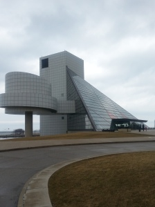 Outside of the Rock and Roll Hall of Fame in Cleveland, OH